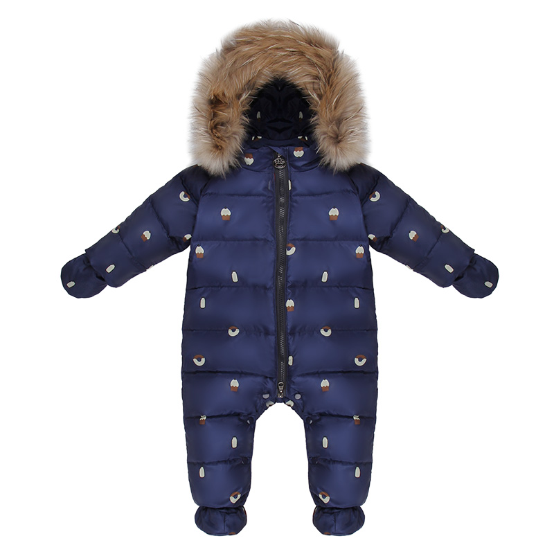 Children Down Rompers With Genuine Fur Hood Warm Baby Boys Girls Winter Jumpsuits For -30 Degree Kids Ski Suit Neonatal Clothing 30 degree russia winter warm baby shoes fashion waterproof children s shoes girls boys boots perfect for kids accessories