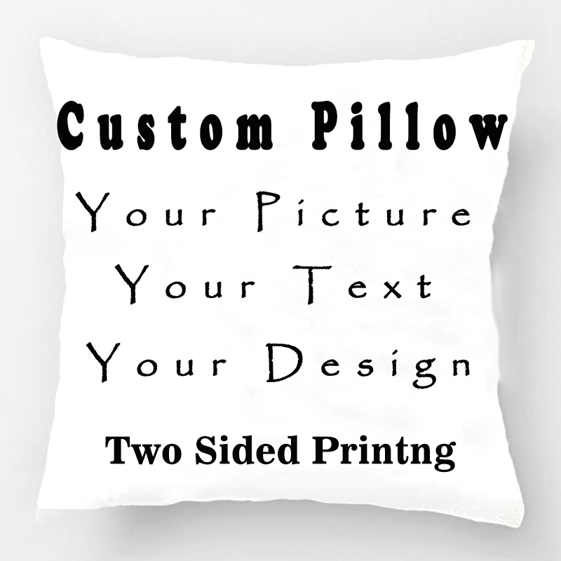 DIY Personalized Custom Logo Design Cushion Cover Your Own Photo Rectangle  Pillowcase Throw Pillow Case Twin Sides Printed Gift