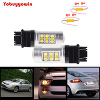 2X 33W White/Amber 3156 3157 Switchback Samsung SMD chip LED Turn Signal Light Bulb + Load Resistor