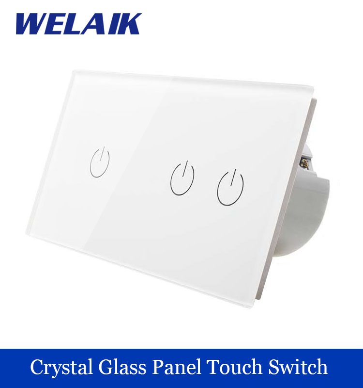 WELAIK 2 frame Crystal Glass Panel White Black Wall Switch EU Touch Switch  Light Switch 1gang1way AC110~250V A291121W/B 1 way 1 gang crystal glass panel smart touch light wall switch remote controller white black 160 250v ac