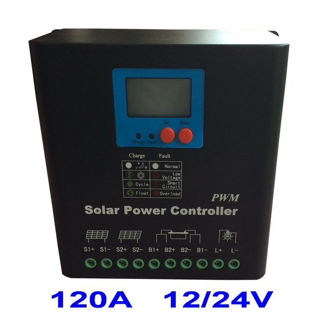 120A Solar Charge Controller 2017 New Electronic LCD Display 12V 24V PV Panel Battery Charge Regulator 120amp Solar Controller