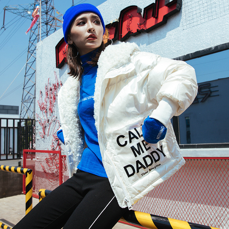 2019 New Winter Down Jacket Women White Duck Down Short Han Edition Fashion Printing Glossy Coat Collar Lamb Processing Women