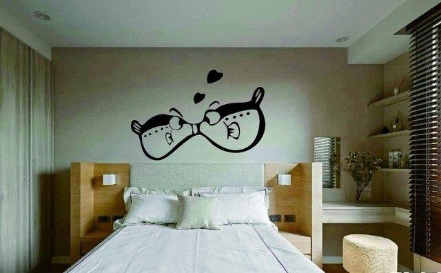 Mooie muurtattoo twee kleine vis silhouetten vinyl muursticker