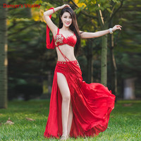 Luxury Women Belly Dance Performance Suit Diamond Bra+Long Skirt+Underpants 3pcs set For Women Girls Stage Competition Costumes