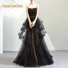 Huafurong милое Многоуровневое черное Тюлевое платье знаменитостей без рукавов неровные слои красного ковра платье с бисером на шнуровке вечерние платья для выпускного вечера
