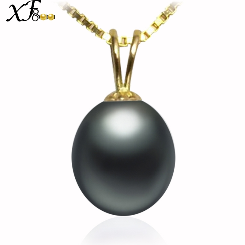 XF800 18K Yellow Gold Pendant Necklace 9-10mm Black Natural Freshwater Pearl Jewelry Wedding Party Gift For Women Girl D227