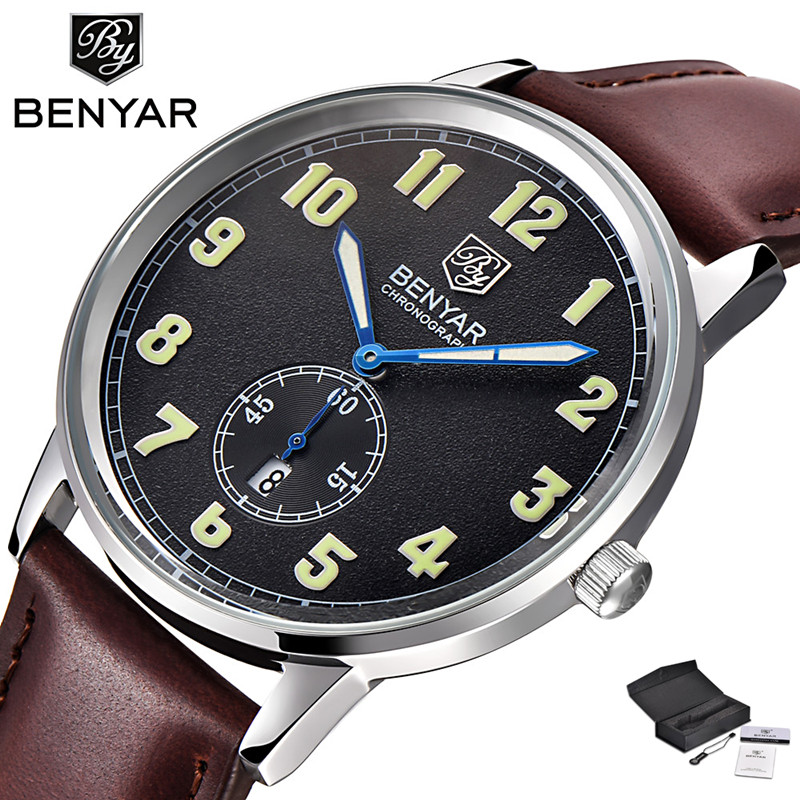 BENYAR Modern Fashion Business Men's Quartz Wristwatch Number Design Dial  Genuine Leather Band Cost-effective Male Watches Gift forsining luxury mmechanical men wristwatch genuine leathe band unique design dial cost effective male casual fashion watch