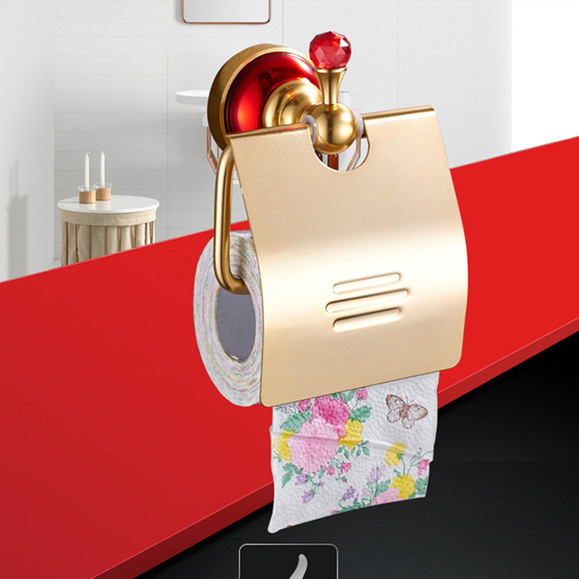 Bathroom Organizer Toilet Paper Holder Aluminum Alloy Tissue Storage Rack With Red Crystal Shelf