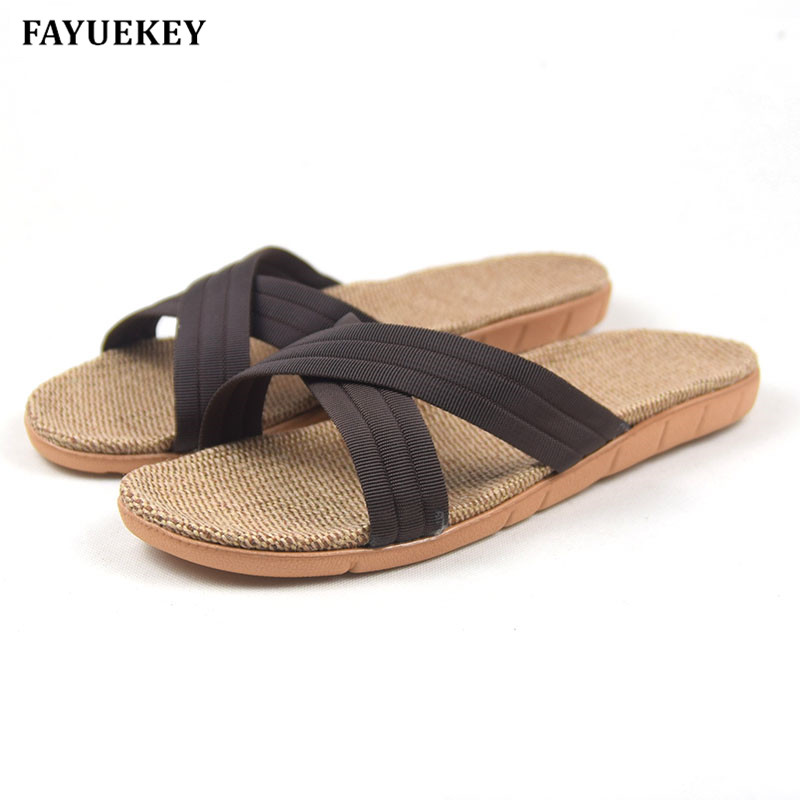 FAYUEKEY New Summer Home Striped Cross Linen Non-slip Breathable Slippers Men Indoor\Floor Beach Boys Open-Toed Slippers Shoes coolsa men s summer non slip striped canvas linen slippers men s indoor bathroom flax slippers men s breathable fashion slides