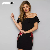 Summer Womens Sexy Dress Embroidery Party Night Club Dresses Backless Off Shoulder Applique Ruffle Elegant Sheath