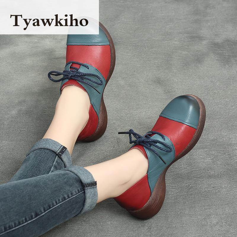 Ayakk.'ten Kadın Pompaları'de Tyawkiho Hakiki Deri Kadın Pompaları Lace Up Casual Kadın Ayakkabı 5 CM Yüksek Topuklu 2018 Bahar Ayakkabı El Yapımı Yumuşak Deri pompaları'da  Grup 1