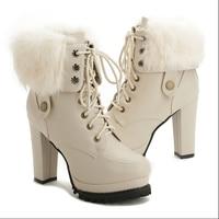 Koovan Women's Winter Snow Boots Furry Boots High Heels 10cm Velvet Shoes Waterproof Strap Thick Heel leather Boots For Women