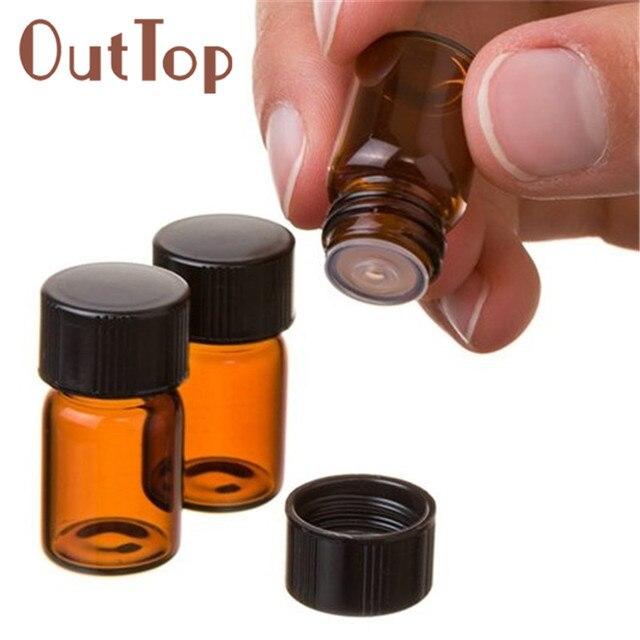 Botella de aceite esencial ámbar de burbuja vacía de 2 ml de alta calidad de 12 piezas con reductor de orificios y botellas recargables de tapa p # dropship