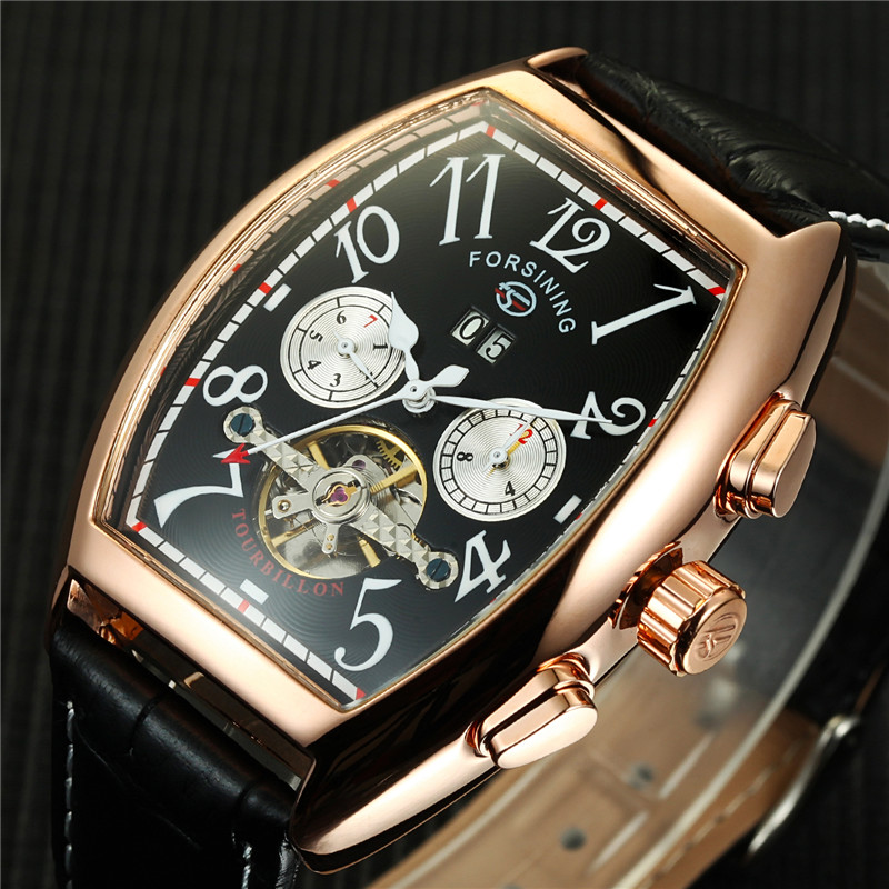 Forsining Tonneau Automatic Man Watches Men Gold Date Month Flying Tourbillon Watches Men Mechanical Watch Montre Homme forsining tourbillon designer month day date display men watch luxury brand automatic men big face watches gold watch men clock