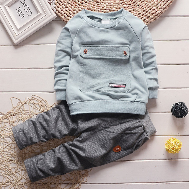 1-4 T 2016 New Fashion Kids Clothes Spring Baby Boys Clothing Sets Shirt + Trousers Toddler Boys Clothing Baby Boy Clothes Brand