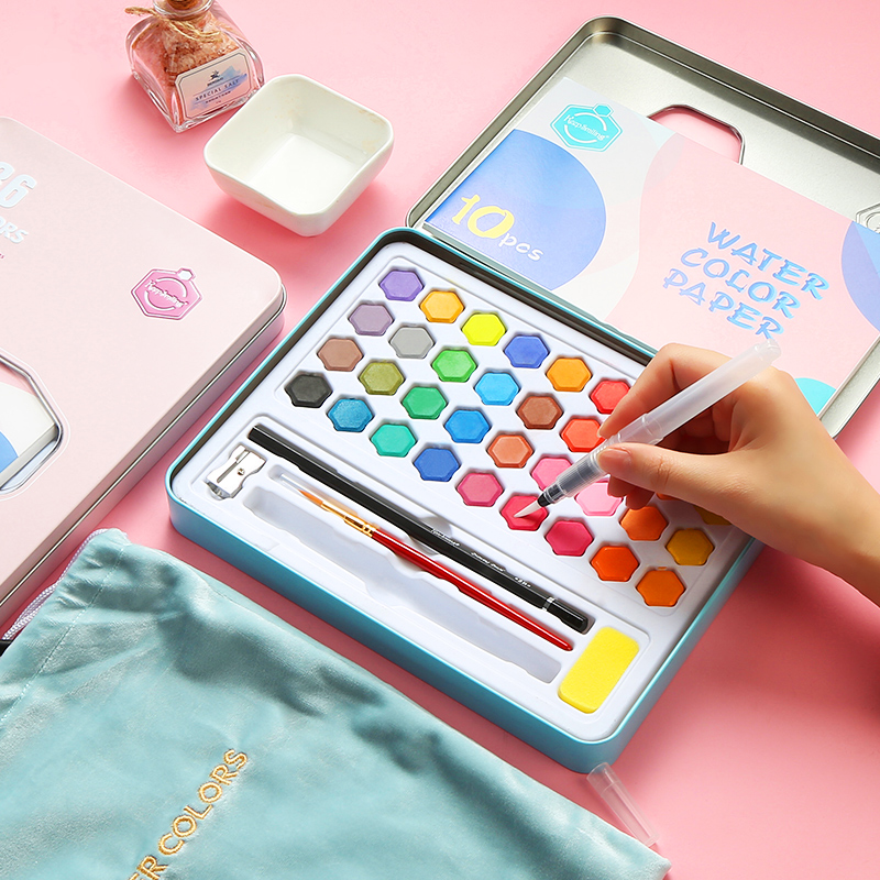 Watercolor Pigment Set 36 color Watercolor Paint Student Hand painted Portable Painting Set Iron Box water color art supplies in Water Color from Office School Supplies