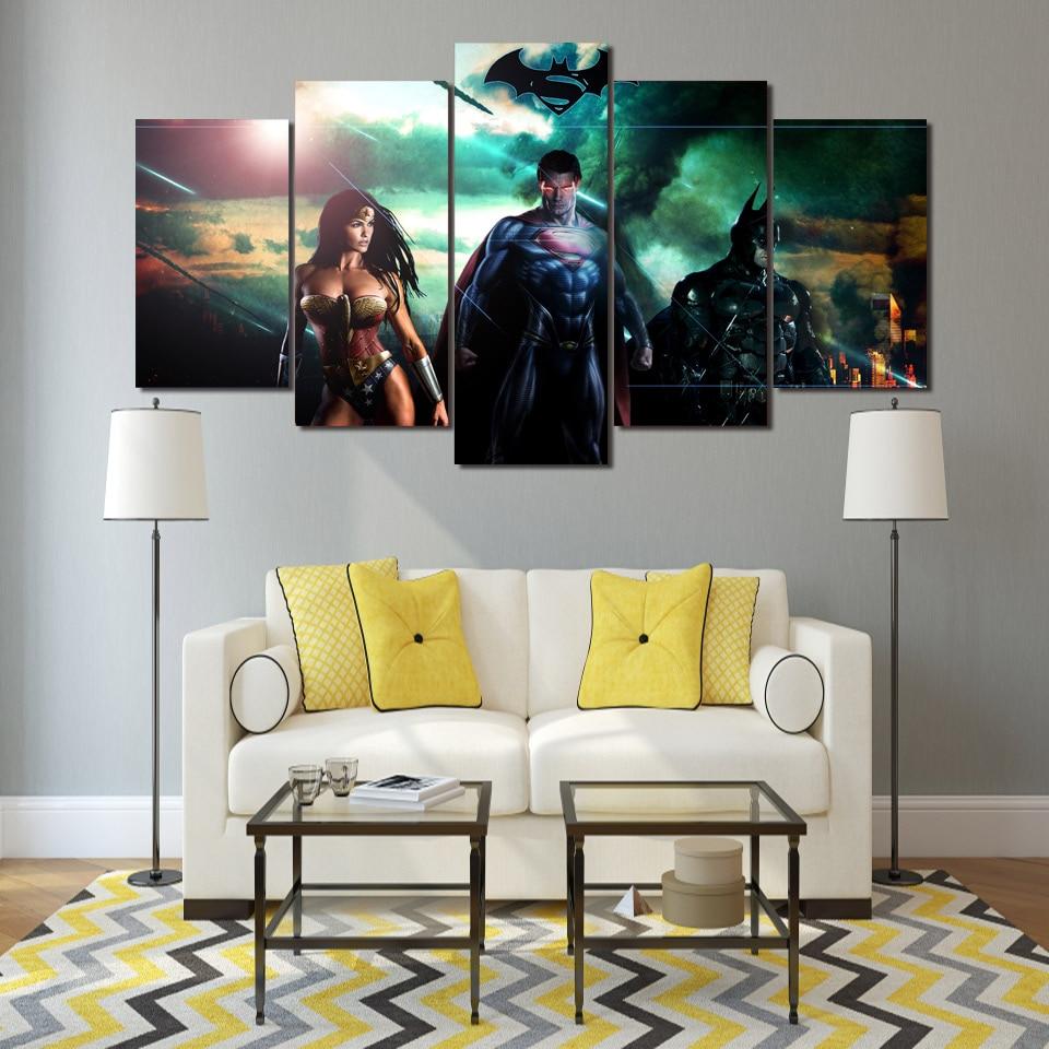5 Teile/satz Gerahmte HD Gedruckt Superman Batman Wonder Woman ...