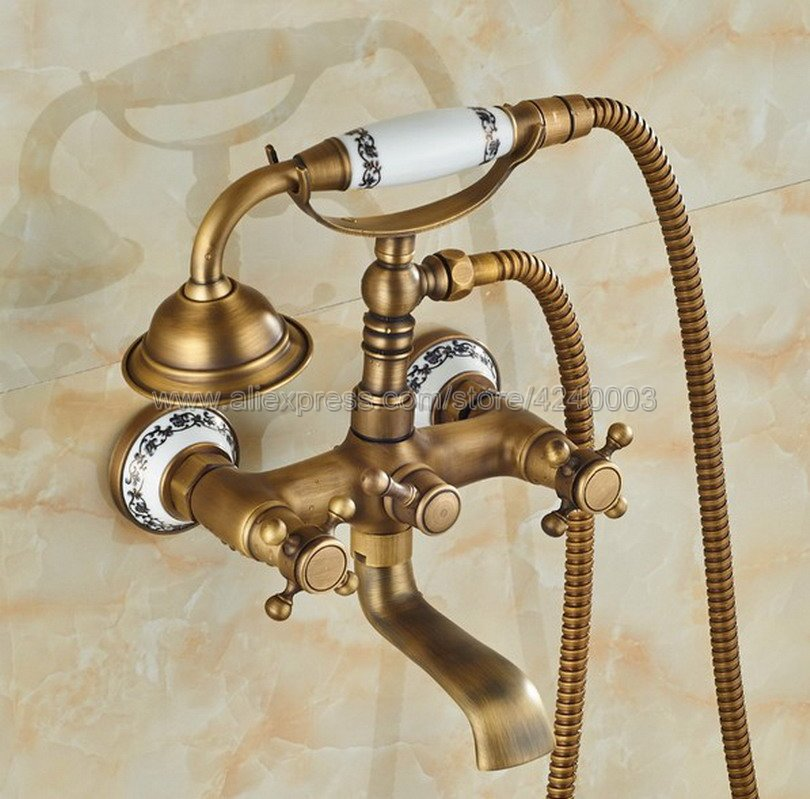 Antique Brass Wall Mount Bathtub Tub Mixers Two Cross Handles Bathroom Bath Shower Faucet with Handshower Ktf306 wall mounted bright chrome bathtub sink faucet two cross handles bathroom handheld shower mixers swivel tub spout