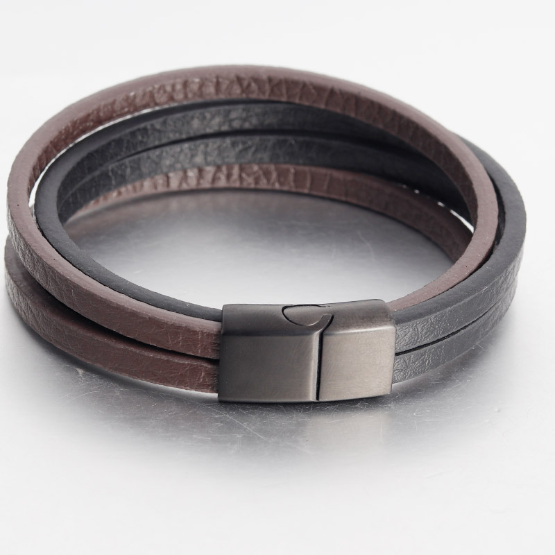 Punk Multi-layer Stainless Steel Buckle Black/Brown Genuine Leather Bracelet For Men Women Classic Design For Surprise Gift
