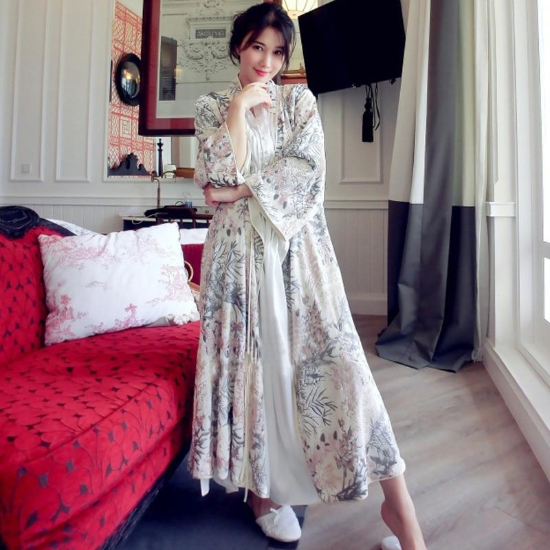 High Quality Floral Silk Velvet Embroidered Luxury Robe For Women Long Sleeve Elegant Nightgowns Female Long