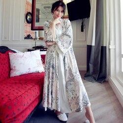 De alta calidad de seda floral bordado de terciopelo traje de lujo para las mujeres de manga larga elegante camisones de mujer ropa de dormir larga 5587