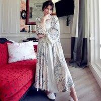 High Quality Floral Silk Velvet Embroidered Luxury Robe For Women Long Sleeve Elegant Nightgowns Female Long Sleepwear 5587