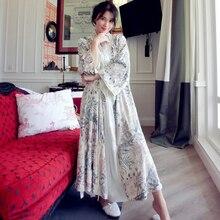 Yüksek kaliteli çiçek ipek kadife işlemeli lüks elbise kadınlar uzun kollu zarif gecelikler kadın uzun pijama 5587