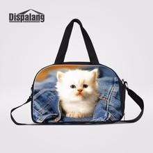 8a927414caa9 Dispalang White Cat Denim Print Canvas Weekend Bag Handbag Portable Travel  Bag Foldable Duffle Tote Bags