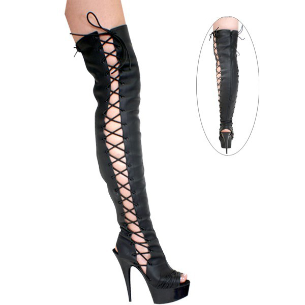 PU female boots in knee boots, upper and slender sexy high heels black tie, dancing shoes 15cm