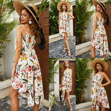 Women Elegant Dress Floral Printed Long Maxi Dress Irregular Hem Halter Strap Party Beach Summer Dress 2019