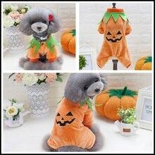 pet dog clothes halloween style pumpkin dog coat jacket four legs velvet pet clothing small dog