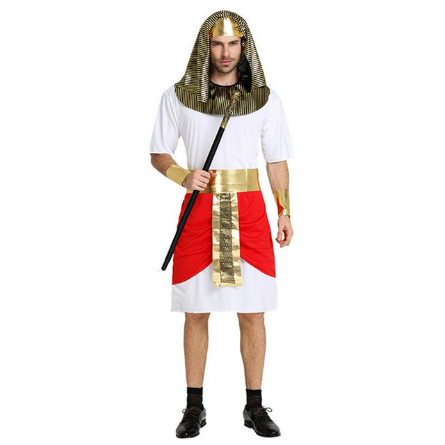 2018 men red egypt pharaoh costume adults ancient egyptian cosplay costumes halloween dress party decoration purim