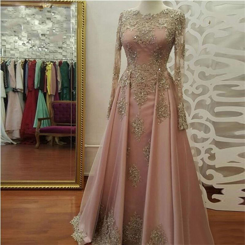 Long Pink   Evening     Dress   With Gold Lace Long Sleeve A Line Floor Length Elegant Arabic Prom Gown 2019 High Quality Party   Dresses