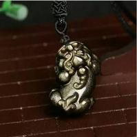 New Fashion Natural Gold Obsidian Carved PiXiu Lucky Pendant Necklace Crystal Jewelry Pendant
