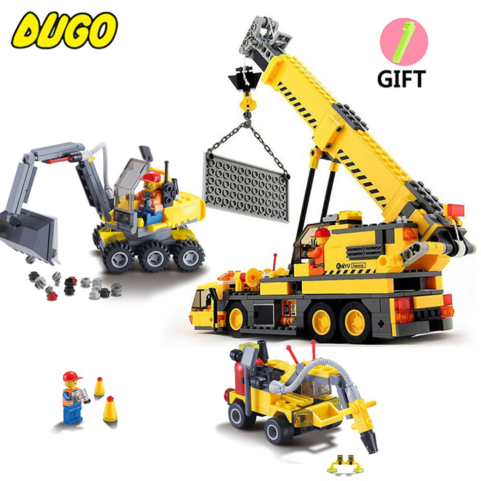 2 Style City Engineering Building Blocks Compatible Legoed City Construction Toys DIY Crane Sets Education Bricks Gifts For Kid lepin city town city square building blocks sets bricks kids model kids toys for children marvel compatible legoe