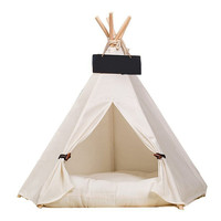 2018 Creative Dog Pet Tents 2 Sizes Pet Supplies White Canvas Pet Teepee House Pet Bed Cat Bed Pet House Portable Dog Tent Beds