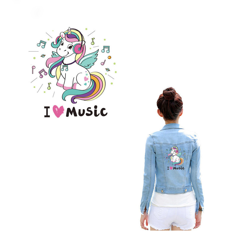 Unicorns Ironing Heat Transfer Clothes Patches Music Unicorn Iron On Patch <font><b>Stickers</b></font> for T-shirt Coat Jeans image