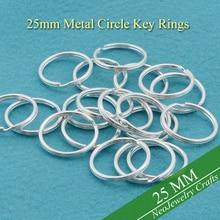 25 мм Серебряный Брелок на руку, ширина 1 дюйм, металлические Разделение кольцо для цепочки для ключей