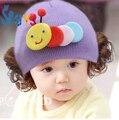 Casquillo del bebé con pelo 3 meses a 3 años rojo hecho punto bebé oruga sombrero capullos pelucas bebés capsula a estrenar 2016 casquillo de la bóveda para peluca
