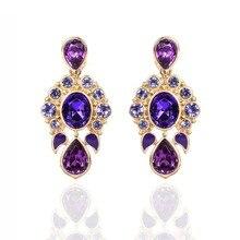Drop Earrings For Women Long Hanging Purple Crystal Water Drop Fashion Jewelry Party Accessory Vintage Female Dangling Earrings