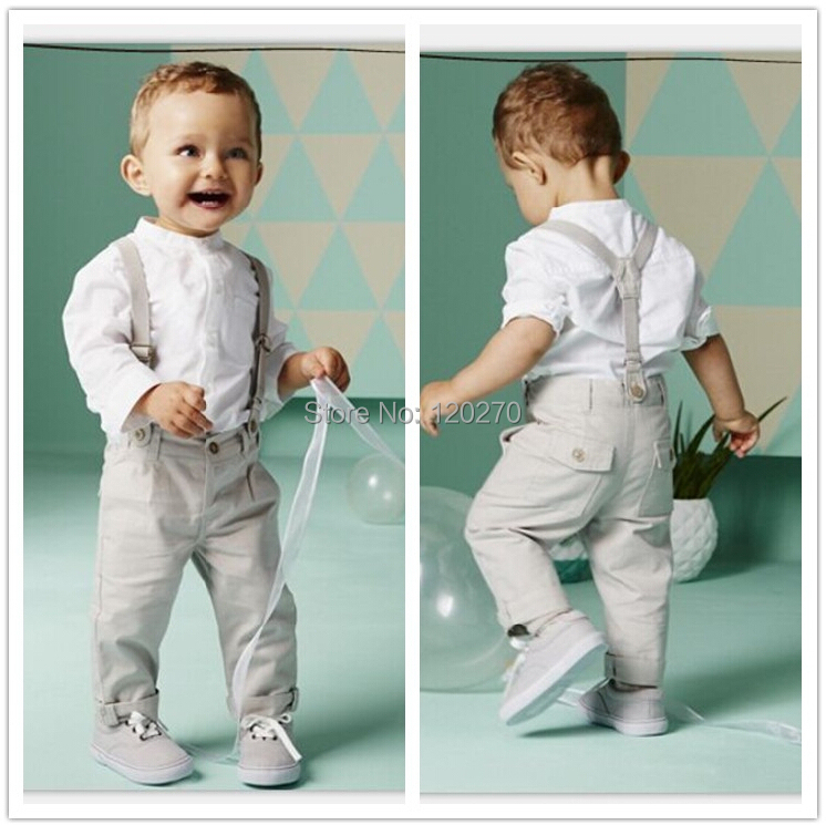 b8ae5e8f Free Shipping Autumn Baby Boys Gentleman Shirt Suspender Trousers Overall  Pants Toddlers Kids Outfits Suit Children Clothes Set