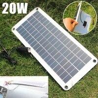 20W Solar Panel 12V to 5V Battery Charger USB for Car Boat Caravan Power Supply DAG ship