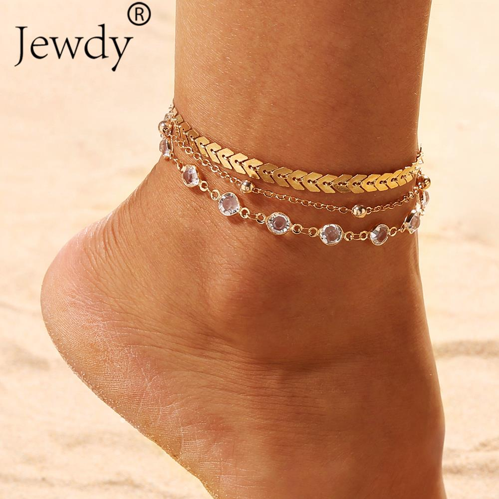 3PCS/SET Gold Color Crystal Star Female Anklets Barefoot Beach Crochet Sandals Foot Jewelry New Ankle Bracelets For Women Bridal