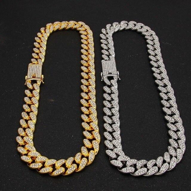2cm Hip Hop altın renk buzlu Out kristal Miami küba zincir altın gümüş renk kolye sıcak satış kalça HOP kral