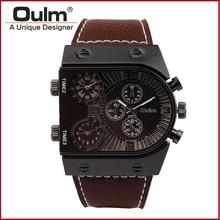 Reloj de pulsera de Hombre HP9315GUN Correas de Reloj para Hombre Tres Zona Horaria Oulm Marca de Lujo Hombre Reloj Jefe Moda Estilo Casual