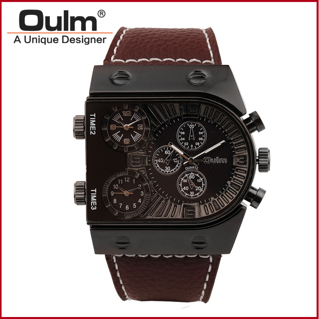 Wristwatch Man HP9315GUN Luxury Oulm Brand Straps Watch for Man Three Time Zone Man Watch Boss Fashion Casual Style
