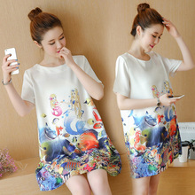 Xiaying Smile A L Women Dress Female Fashion All-Match Boat Neck Sexy loose Embroidery Striped Casual comfortable