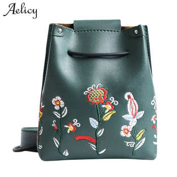 Aelicy luxury Fashion Women Messenger Bags for Girls Leather Flowers Embroidery Ladies Girls Crossbody Shoulder Bag Vintage shoulder bag