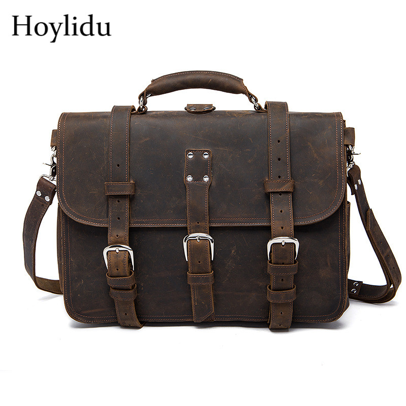 New Genuine Leather Men's Business Briefcase Vintage Casual Large Capacity Travel Tote Handbags Male Shoulder Bags Messenger Bag qibolu vintage large capacity handbags men shoulder tote bag for travel business sacoche homme bolso hombre bolsa masculina 6002