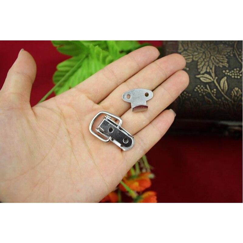 10 Stücke 43*21mm, Weiß Ente-mund Schnalle Vintage Mini Lock Brust Box Geschenk Box Koffer Koffer Schnallen Toggle Haspe Latch Fang Verschluss